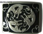 Celtic Cats Belt Buckle + display stand. Product code AF3